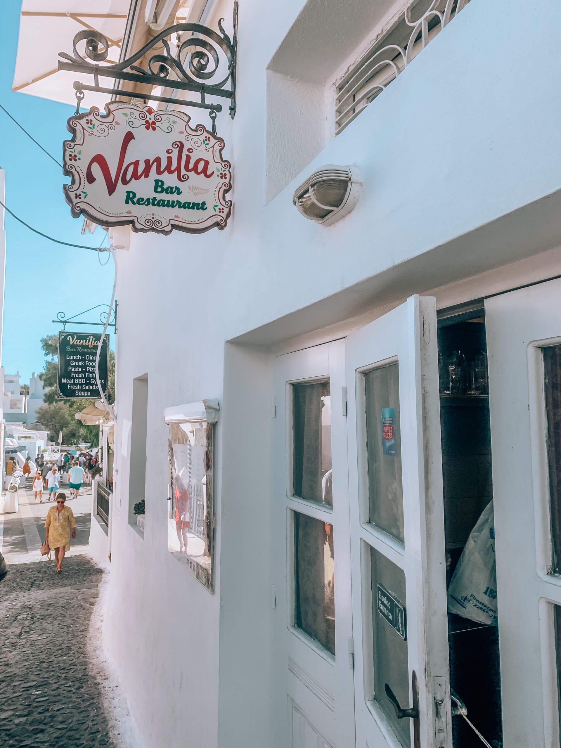 Santorini Top Best Restaurants | Vanilia Restaurant