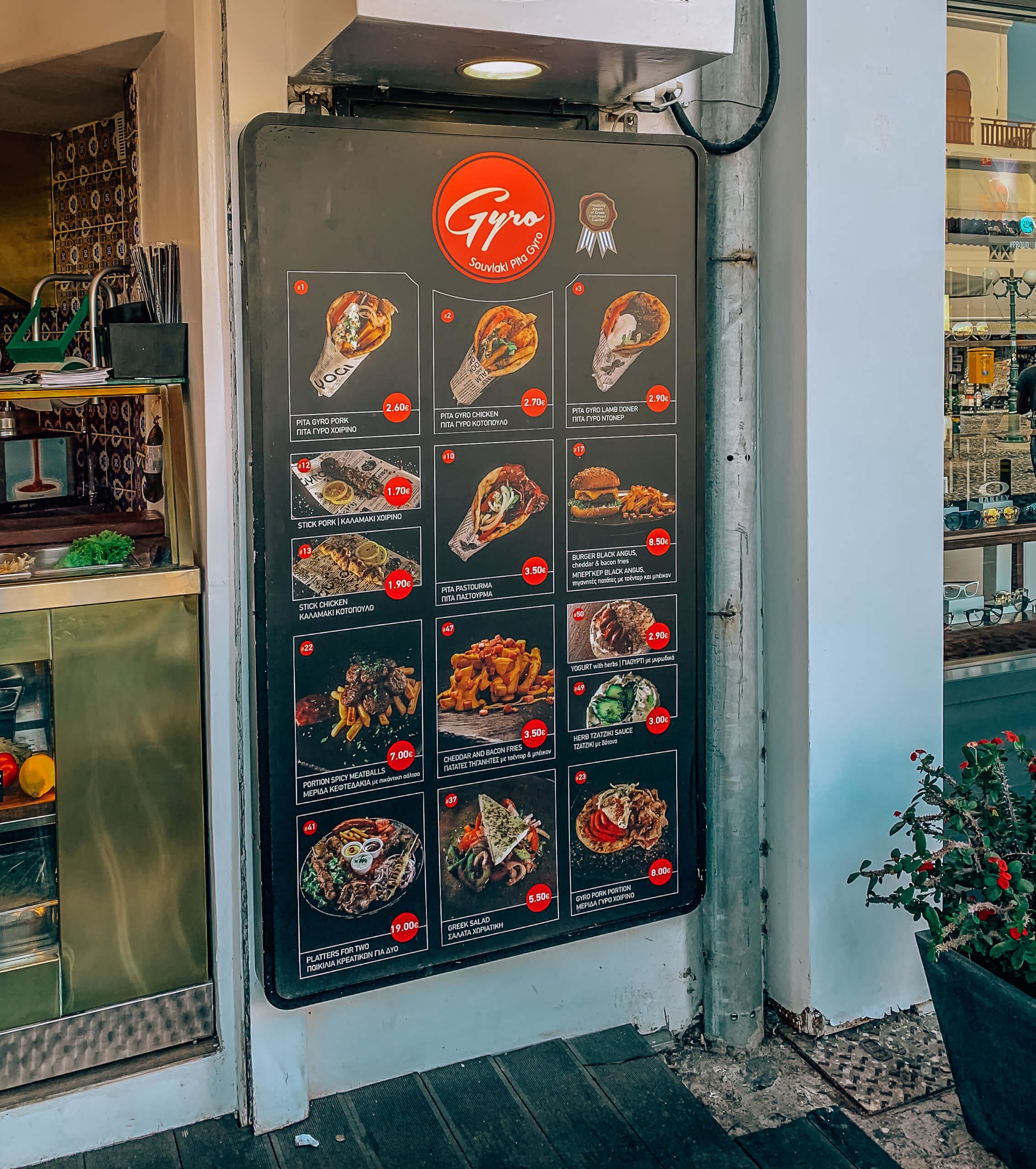 Santorini Top Best Restaurants |Gyros in Fira