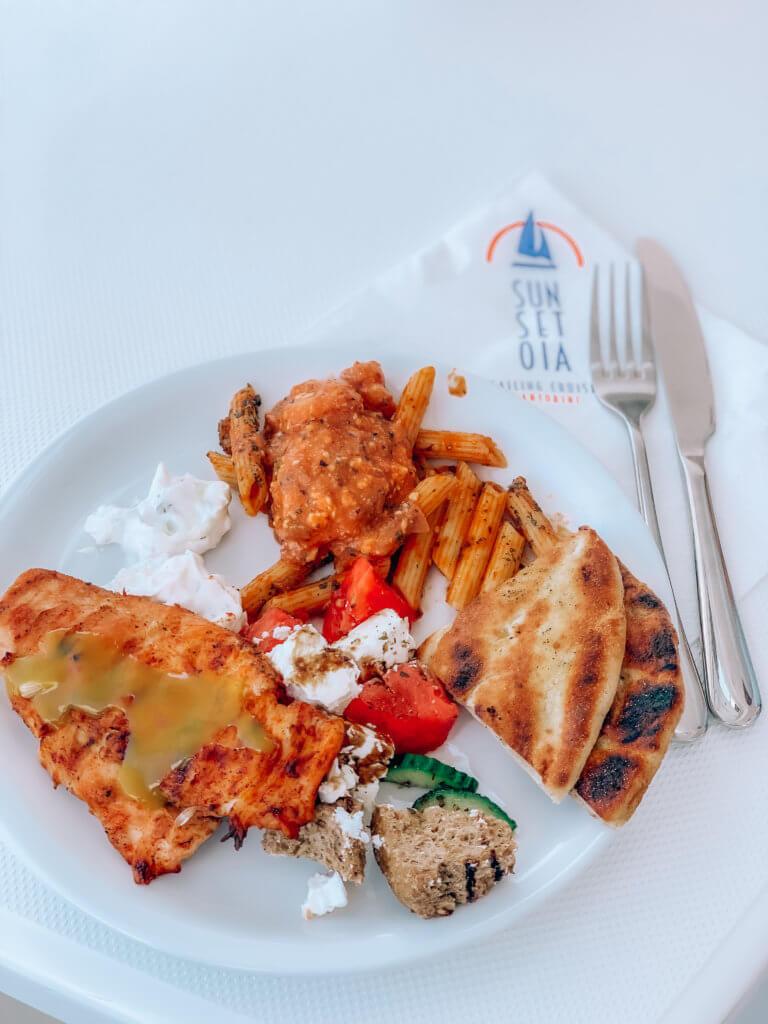 Santorini Catamaran Tour | Cruising with Sunset Oia | Dinner Plate