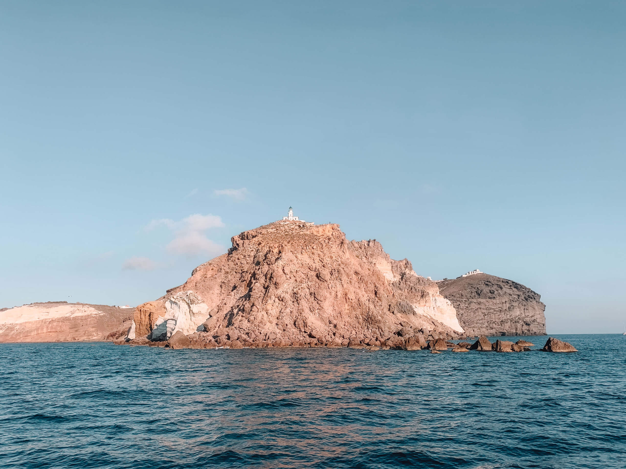 Santorini Catamaran Tour | Cruising with Sunset Oia | Lighthouse